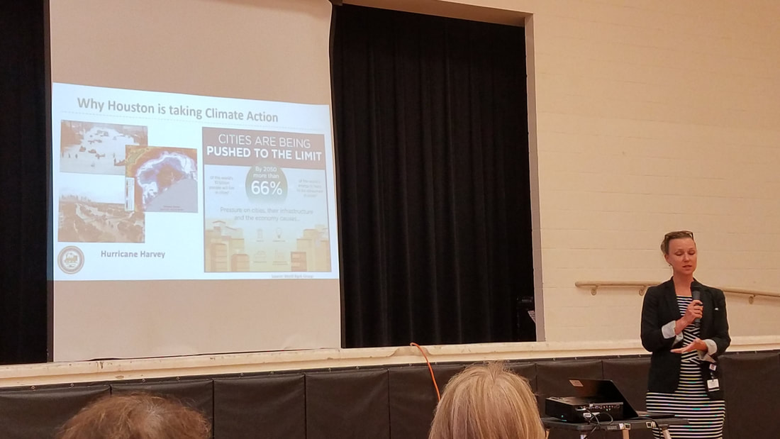 Houston's Chief Sustainability Office Lara Cottingham runs through the Climate Action Plan presentation at the CAP community meeting.