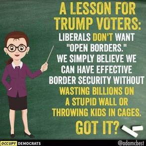Occupy Democrats pic: bespectacled white teacherly figure with a bun points to chalkboard that says,