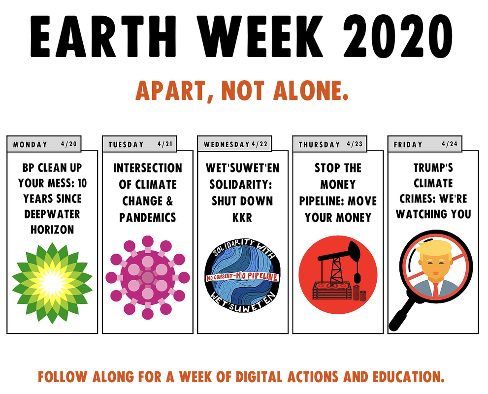 Graphic from xrhouston.org with daily activities for Earth Week